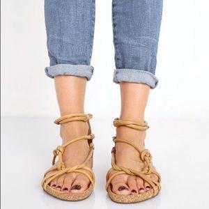 Free People Redlands Tan Leather Gladiator Sandal